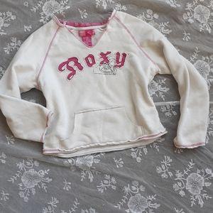 White Roxy Sweatshirt Pink Jersey Logo DiY Hoodie